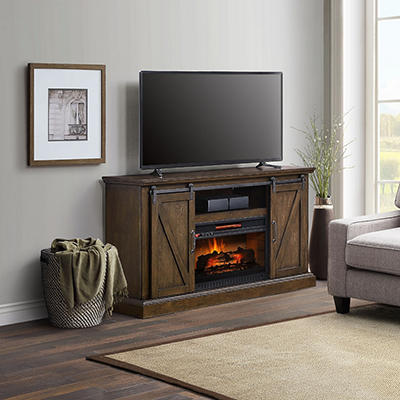 Chatham Barn Door Fireplace TV Stand Console