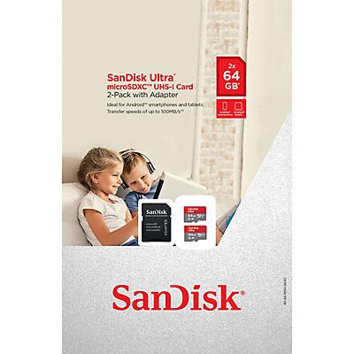 SanDisk 64GB Ultra microSDXC Cards, 2 pk.
