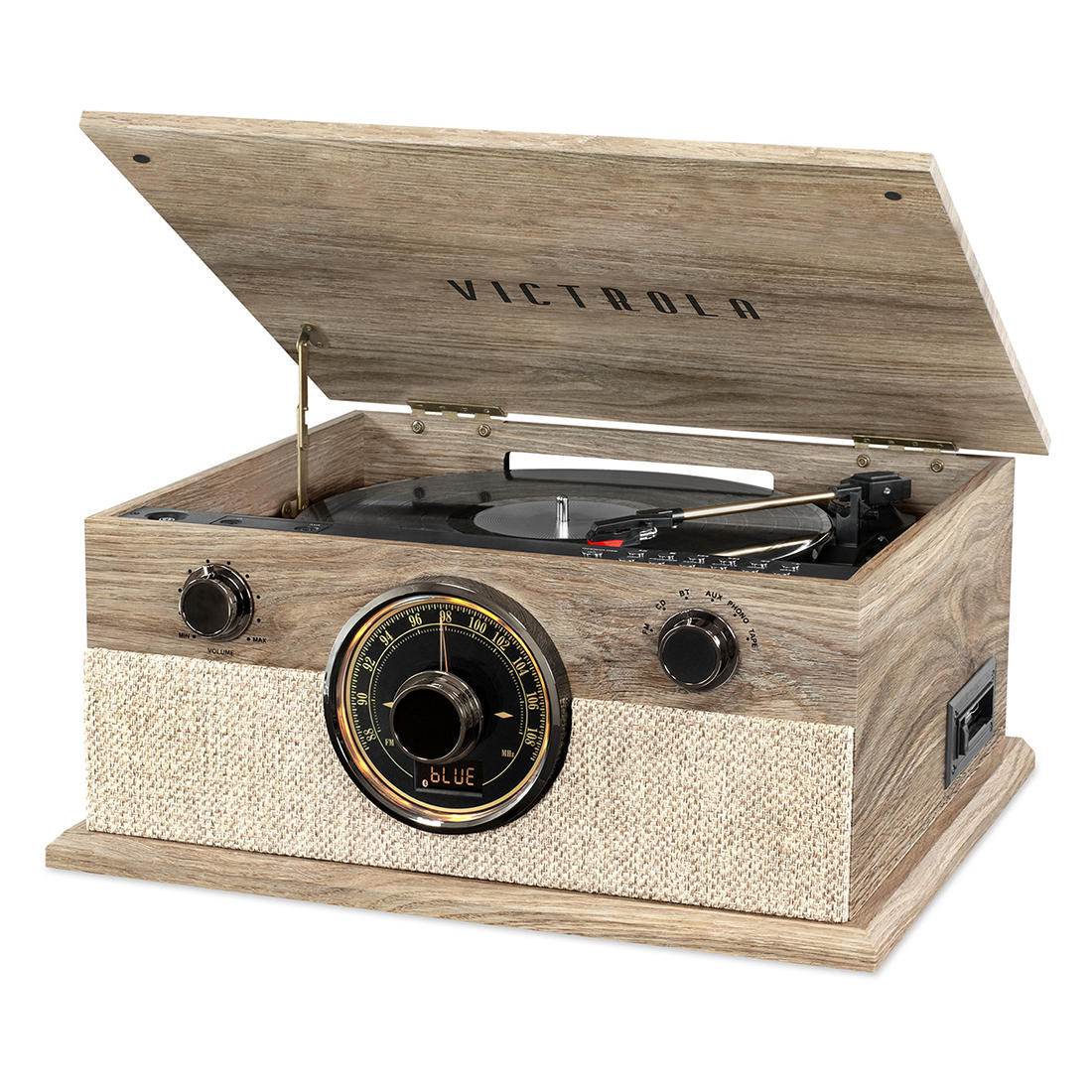 Victrola Brookline 6-in-1 Record Player with Bluetooth, 3-Speed Turntable,  CD, Cassette Player and AM/FM Radio