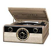 Victrola Metropolitan 4-1 Record Player with Bluetooth, 3-Speed Turntable and Radio - Farmhouse Walnut