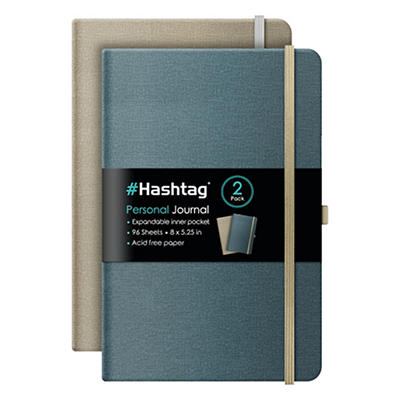 "iScholar Hashtag 8"" x 5.25"" Journal Notebook, 2 pk."