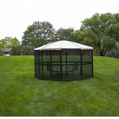 "Casita 14'9"" Complete Round Screenhouse - Chestnut/Almond"