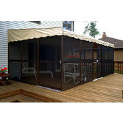 "Patio-Mate 19'3"" x 11'6"" Screened Enclosure - Chestnut/Almond"