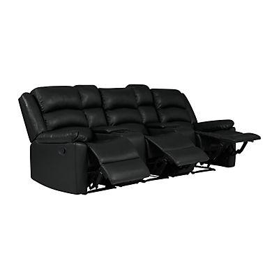 ProLounger Fabric Wall Hugger Recliner Sofa with Consoles, 3 Seats - Black
