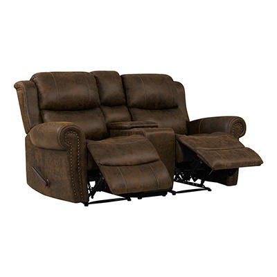 ProLounger Faux Leather Wall Hugger Recliner Loveseat with Console - B
