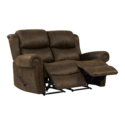 ProLounger Faux Leather Wall Hugger Recliner Loveseat - Brown