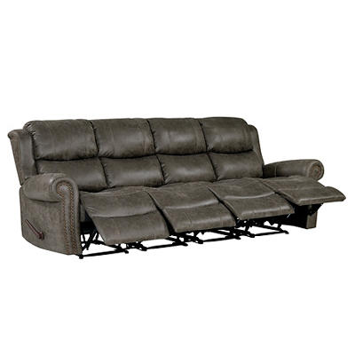 ProLounger Faux Leather Wall Hugger Recliner Sofa, 4 Seats - Gray