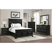 Windsor 5-Pc. Queen Size Panel Bedroom Set - Antique Black