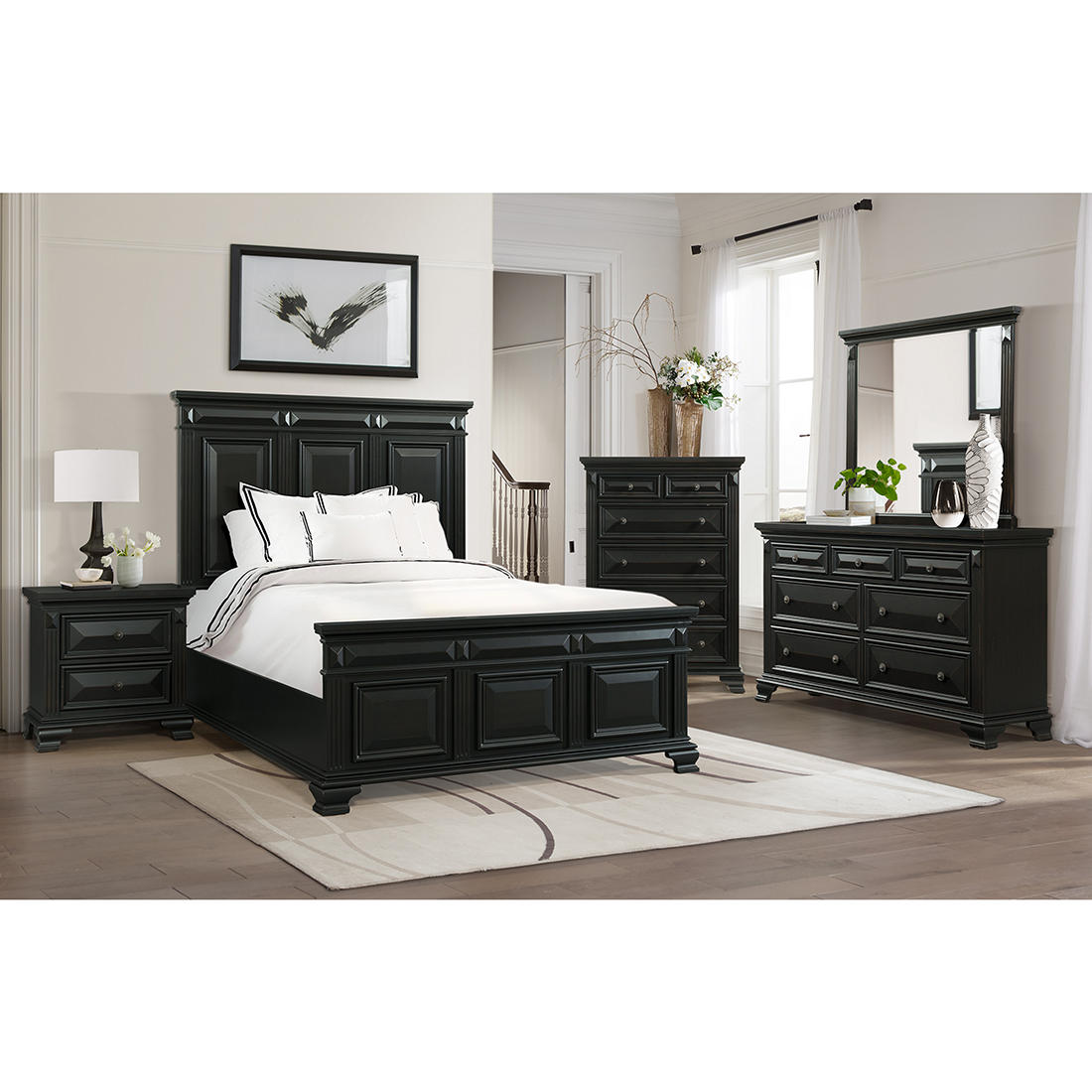 Windsor 5 Pc Queen Size Panel Bedroom Set Antique Black Bjs
