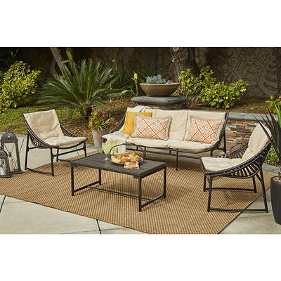 Handy Living Nico Indoor/Outdoor 4-Pc. Conversation Set - Dark Brown