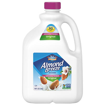 Blue Diamond Almond Breeze Unsweetened Original Almond Milk, 96, fl. o