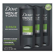 Dove Men+Care Extra Fresh Body Wash, 3 pk./18 oz.