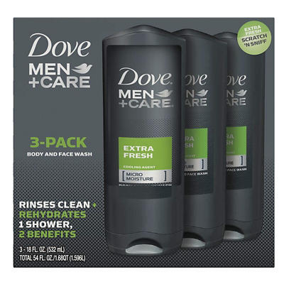 Dove Men+Care Extra Fresh Body Wash, 3 pk./18 oz.