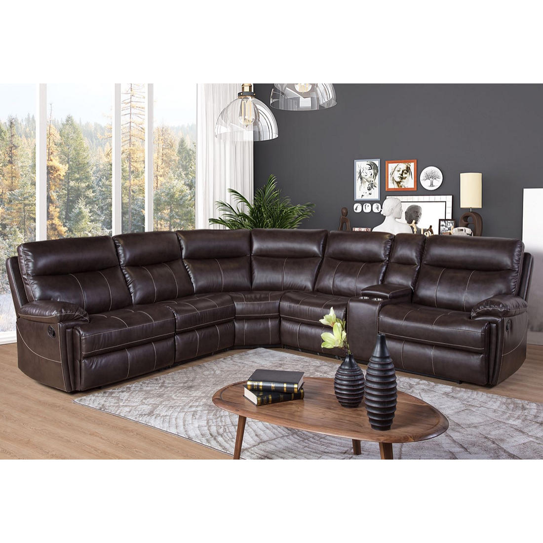 Awe Inspiring Brandon 6 Pc Reclining Sectional With Free White Glove Delivery Bralicious Painted Fabric Chair Ideas Braliciousco