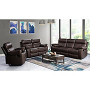 Abbyson Living Marcus 3-Pc. Top Grain Leather Reclining Living Room Set