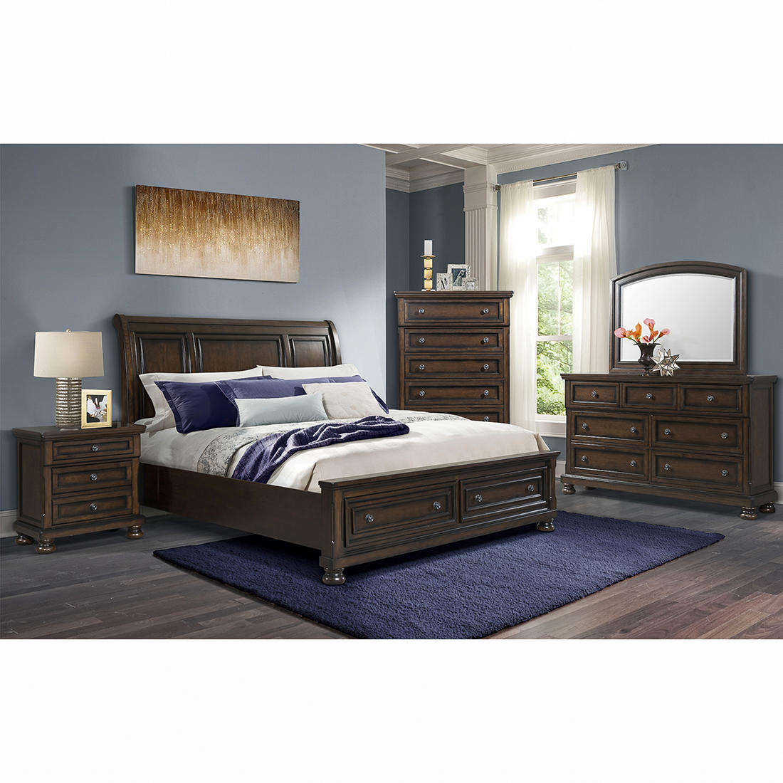 Bedroom Sets.Westbrook 5 Pc Queen Size Storage Bedroom Set Cherry Bjs