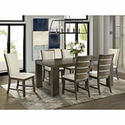 Peyton 7-Pc. Standard Height Dining Set with 2 Drop-In Leaves, Walnut Finish