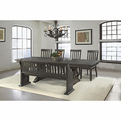 Mayfield 6 Piece Dining Set in Smoky Walnut Finish