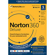 Norton 360 Deluxe, 5 Devices, 1-Year Subscription with Auto Renewal
