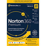 Norton 360 Premium, 10 Devices, 1-Year Subscription with Auto Renewal