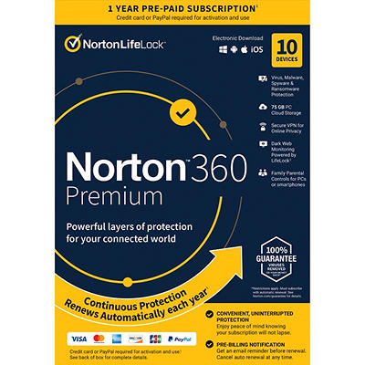 Norton 360 Premium for All Devices, 10 Devices, 1-Year Subscription