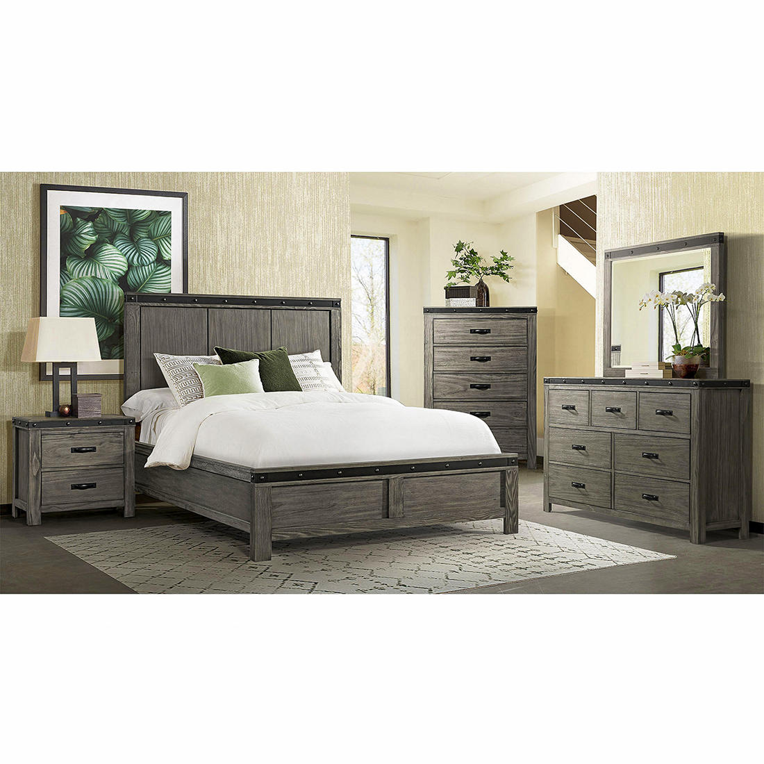 Sullivan 5 Pc Queen Size Panel Bedroom Set Gray Bjs Wholesale Club