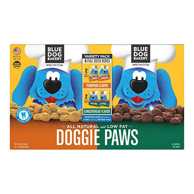 Blue Dog Bakery Doggie Paw Pumpkin & Gingerbread Flavor Dog Treats, 4 pk.