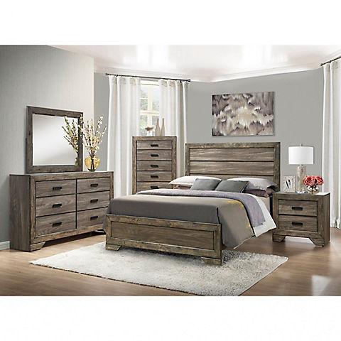 Thompson 5 Pc Queen Size Panel Bedroom Set Gray Oak Bjs