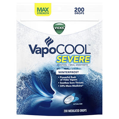 Vicks VapoCool Severe Medicated Drops, 200 ct.