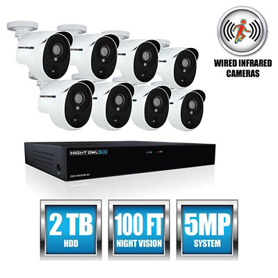 Night Owl 8-Channel 8-Camera 5MP Security System with 2TB HDD DVR