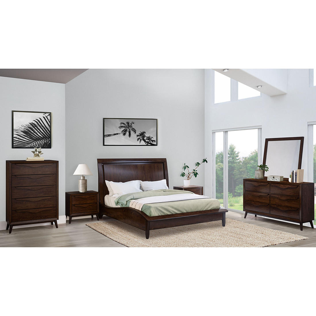 Abbyson Living Anson 6 Pc Queen Size Bedroom Set Brown