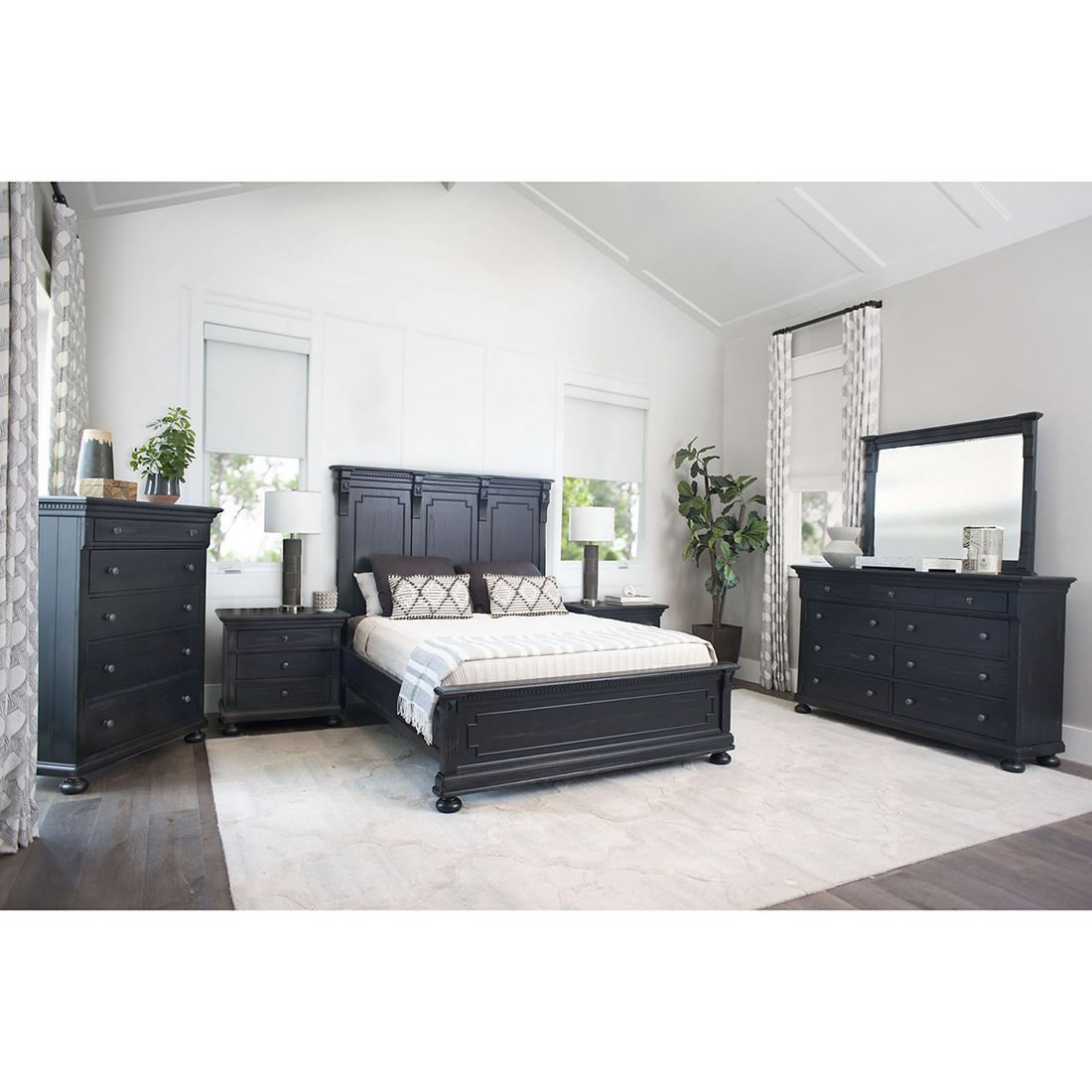 Abbyson Living Hartford 6 Pc King Size Bedroom Set Black