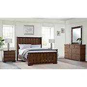 Abbyson Living Knightly Vintage Oak 5-Pc. King Size Bedroom Set - Brown