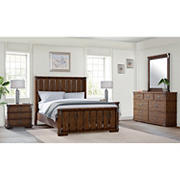 Abbyson Living Knightly Vintage Oak 5-Pc. Queen Size Bedroom Set - Brown