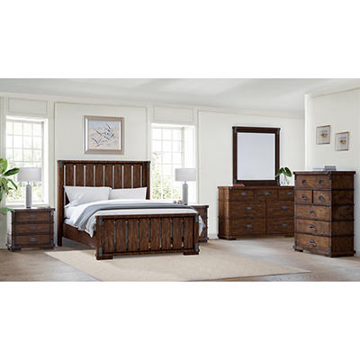 Abbyson Living Knightly Vintage Oak 6-Pc. Queen Size Bedroom Set - Brown