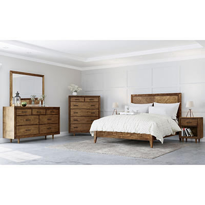 Abbyson Living Regina Mid Century 6-Pc. King Size Bedroom Set - Brown