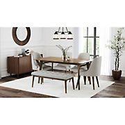 Abbyson Living Regina 6-Pc. Mid Century Wooden Dining Set - Brown
