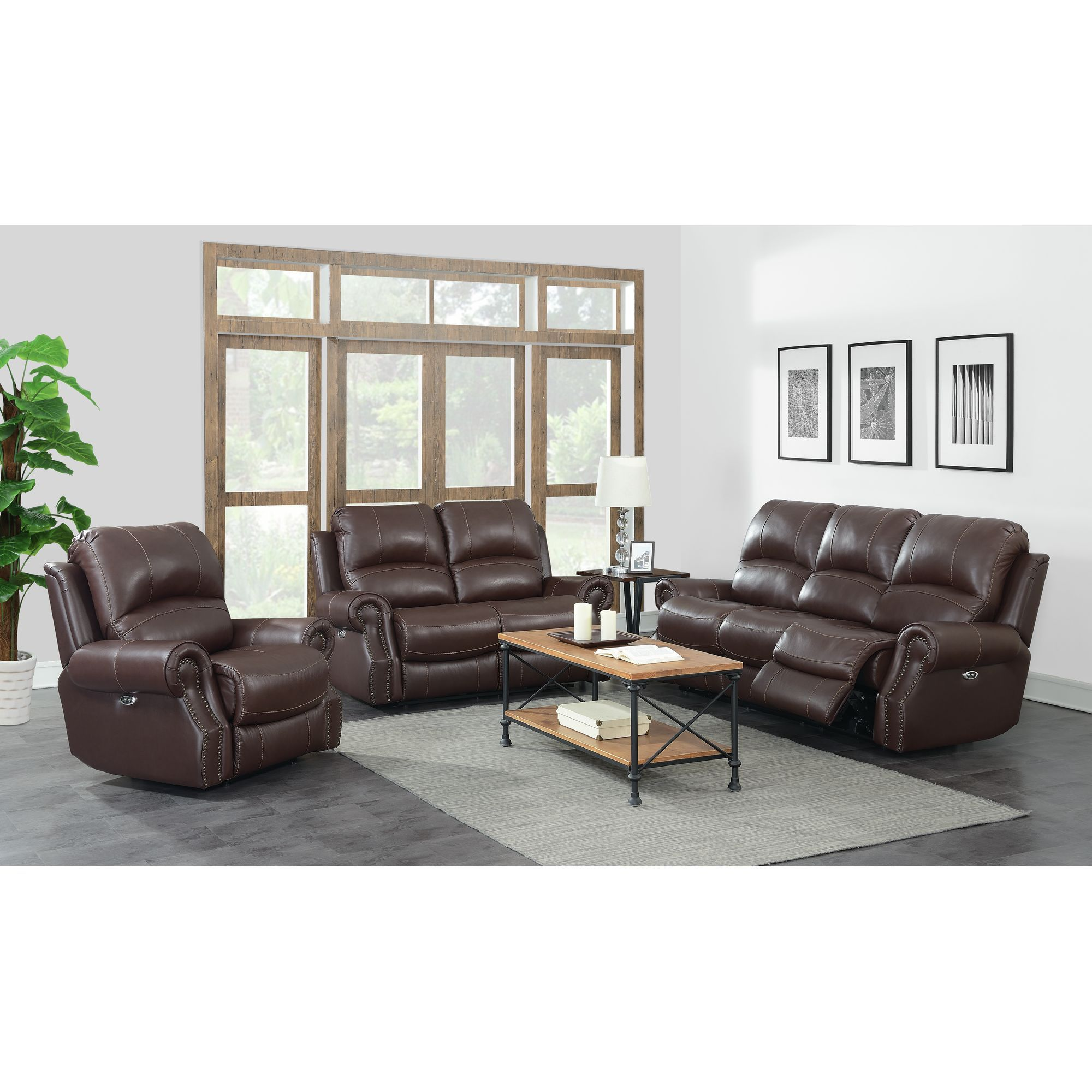 Emerson 3 Pc Power Motion Reclining Leather Living Room Set With Free White Glove Delivery