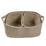 Honey-Can-Do Nested Cotton Basket Set with Handles - Champagne