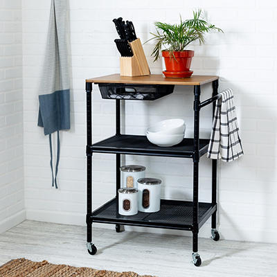 "Honey-Can-Do 36"" Kitchen Cart with Wheels, Storage Drawer and Handle - Black"