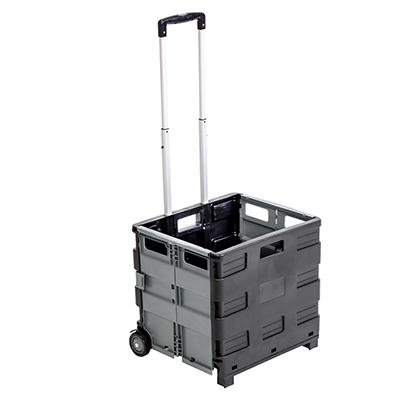 Honey-Can-Do Fold-Up Rolling Storage Cart with Handle - Gray
