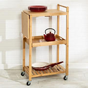 "Honey-Can-Do 38"" Bamboo Kitchen Cart with Wheels"