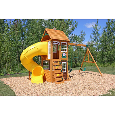 KidKraft Creston Lodge Wooden Swing Set and Play Set