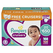 Pampers Cruisers Diapers Bonus Pack, Size 4, 168 ct.