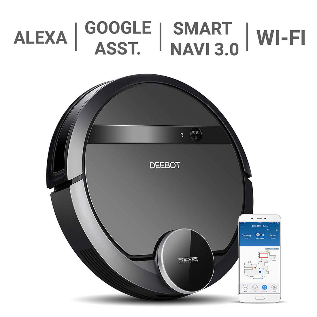 ECOVACS DEEBOT 901 Robotic Vacuum Cleaner with Smart Navigation and Mapping