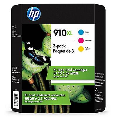 HP 910 XL Cyan, Magenta and Yellow Ink Cartridges, 3 pk.