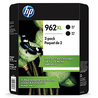 HP 962XL High Yield Black Ink Cartridge, 2 pk.