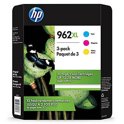 HP 962XL High Yield Cyan, Magenta and Yellow Original Ink Cartridge, 3 pk.