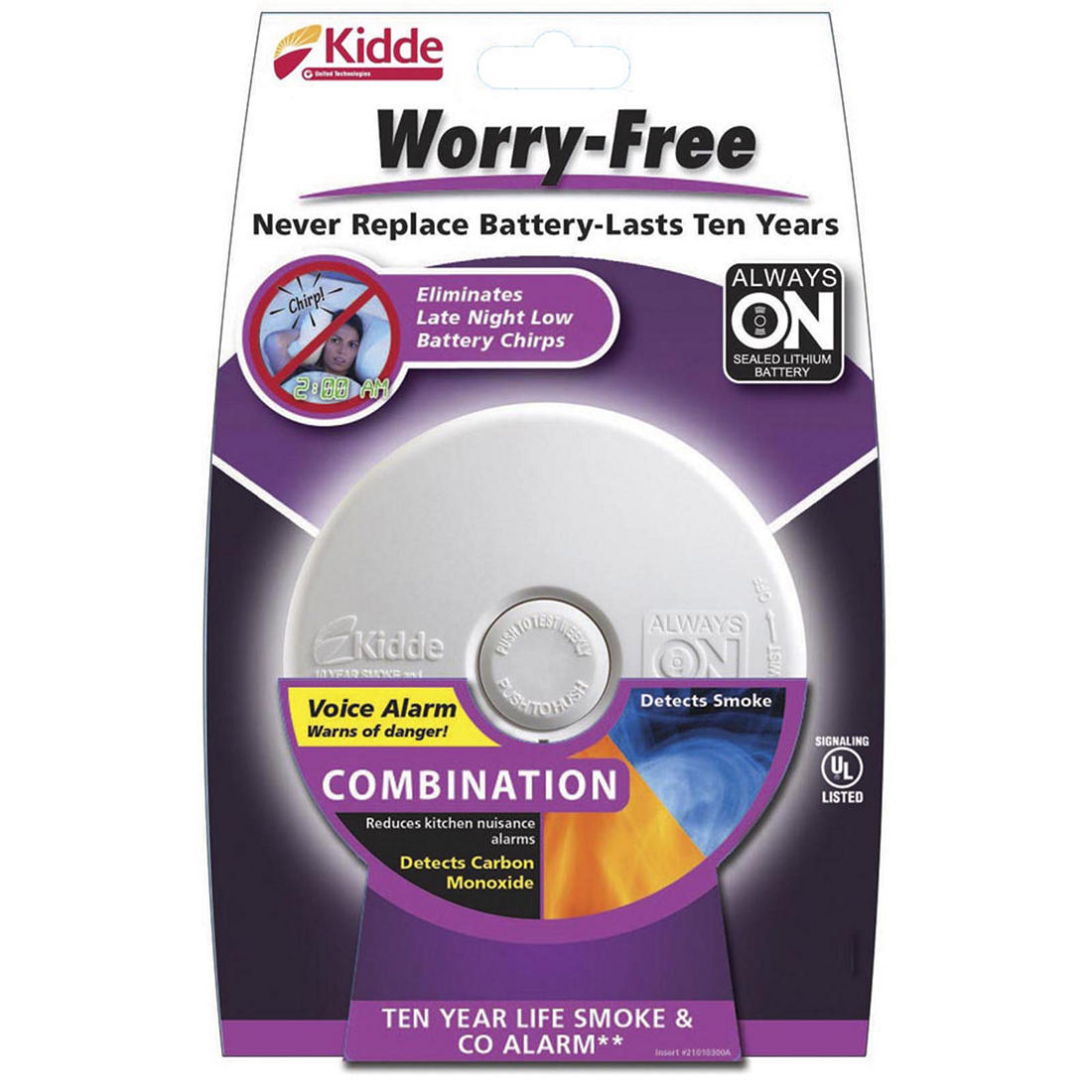 Kidde Worry Free Battery Powered Smoke And Carbon Monoxide Alarm