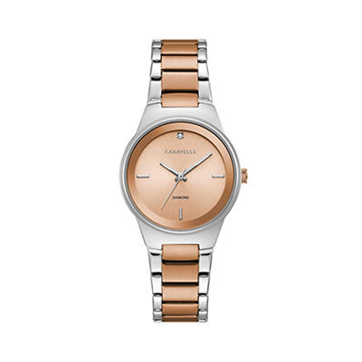 Caravelle Women's Diamond Accent Watch in Two Tone Rose Gold Stainless Steel